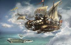 Steampunk Flying Ships (2006 Personal project) by Eddie Bennun on ArtStation.
