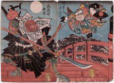 Utagawa Yoshifuji / Onzoshi Ushiwakamura und Musashibo Benkei auf der Gojo Brücke