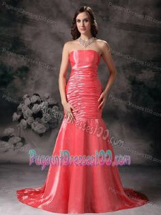 Hot Strapless Court Train Watermelon Red Pageant Dresses for Girls
