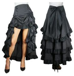 3-TIERED-GOTHIC-PUNK-STEAMPUNK-BURLESQUE-VICTORIAN-ROCKABILLY-BUSTLE-SKIRT