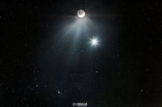 The Moon, Venus And Comet Catalina Shine In Beautiful Space Photograph by Greg Hogan.