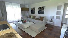obývačka s kuchyňou 24 m2 Bungalov ROMA pre BYVAJLACNO.sk Couch, Bed, Furniture, Home Decor, Homemade Home Decor, Sofa, Stream Bed, Couches, Home Furnishings