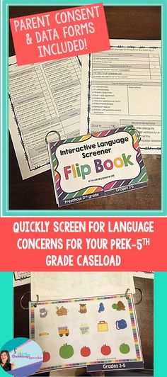 great quick and easy interactive language screener flip book to determine if further testing is warranted for speech and language $