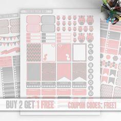 Pink-Gray, ZEBRA Planner Stickers Printable, Erin Condren Stickers, Monthly/Weekly Kit, Printable Sampler, Erin Condren, Instant download