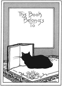 Bookplate, cat reading, black and white.