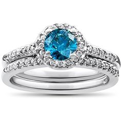 Blue Diamond Halo Engagement Ring 3/4ct Matching Wedding Ring White Gold Treated * Quickly view this special  product, click the image : Bridal Sets