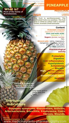 Pineapple benefits. Infographic. Summary of the general characteristics of the Pineapple plant. Medicinal properties, benefits and uses more common.  http://www.medicinalplants-pharmacognosy.com/herbs-medicinal-plants/pineapple/benefits-infographic/