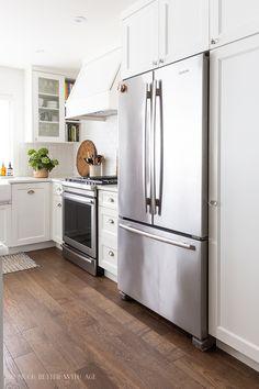 Counter Depth Refrigerator, Built In Refrigerator, New Kitchen, Kitchen Decor, Kitchen Lighting Fixtures, Kitchen Photos, Custom Cabinets, Beautiful Kitchens