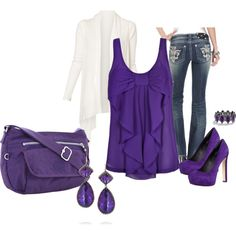 """""""Purple Bow"""" by jamilee123 on Polyvore... I adore this outfit, minus the five inch heels since I can't wear those!"""