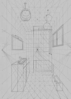 Interior Design For Bathroom Info: 8488834945 Perspective Drawing Lessons, Perspective Sketch, One Point Perspective, Drawing Interior, Interior Design Sketches, Technical Drawing, Art Techniques, Designs To Draw, Drawings