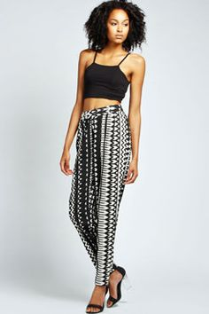 Livia Monochrome Zig Zag Print Relaxed Trousers at boohoo.com