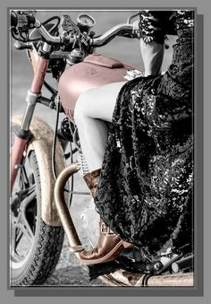 Lady Biker, Biker Girl, Motorcycle Art, Color Splash, Beautiful Women, Bikers, Lush, Motorcycles, Colour
