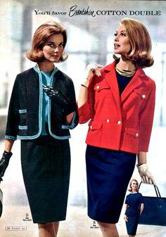 60s boxy suit dress skirt jacket shirt top cotton chanel like red black blue navy mad men color photo print ad models magazine vintage fashion Like Barbie Dolls
