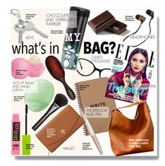 """""""What's in My Bag?"""" by kusja ❤ liked on Polyvore featuring GUESS, Eos, Gucci, Maybelline, Mason Pearson, Swarovski, Tory Burch, bag and inmybag"""