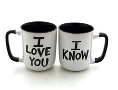 Star Wars (R) Han Solo and Leia I love you I know Mug Set for Wedding or Anniversary Design in stoneware