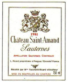 Chateau Saint Amand Sauternes 1981 Wine Label