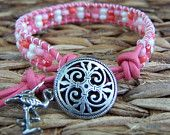 "Pink ""Flamingo"" Leather Wrap Bracelet with Pink Czech glass seed beads and pewter Flamingo charm"