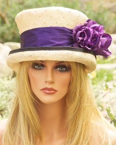 Kentucky Derby Hat. Womens Natural Straw, Violet Purple. Wedding Hat, Formal Dressy Hat ,Top Hat Victorian English Riding Hat ONE-OF-A-KIND.  via Etsy.
