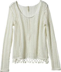 open knit sweater with fringe detail