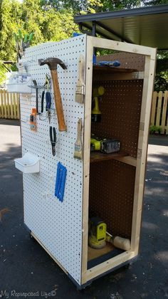 You too, can make this handy rolling tool cart with pegboard storage and more using a furniture dolly as a base. Easy weekend project. MyRepurposedLife.com
