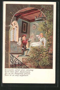 Alte Ansichtskarte: Lithographie Dornröschen schlief schon jahrelang...