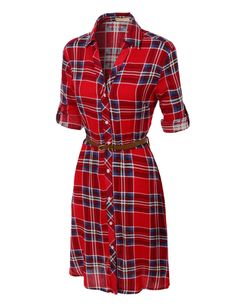 LE3NO Womens Flowy Button Down Plaid Shirt Dress with Faux Leather Belt
