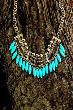 Can't Resist Necklace-Turquoise/Gold