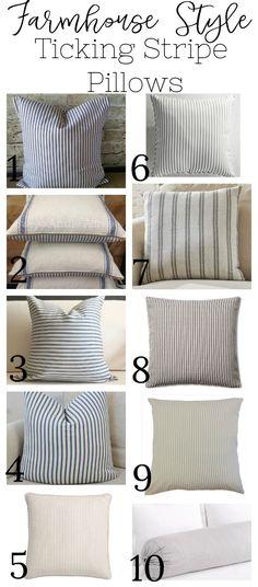 Farmhouse Style Ticking Stripe Pillows