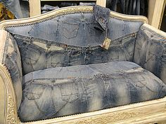 A great way to reuse denim. Doesn't it just take over the design? Great.