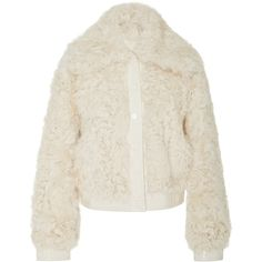 Tory Burch Camilla Kalgan Fur Jacket ($1,300) ❤ liked on Polyvore featuring outerwear, jackets, white, fur collar jacket, fur jacket, collar jacket, tory burch and tory burch jacket