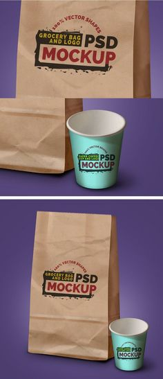 Free Grocery Bag, Coffee Cup & Logo Mockups by Rafi #mockups #psd #freebie