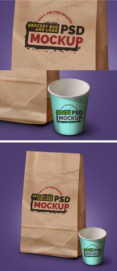 Free Grocery Bag, Coffee Cup & Logo Mockups by Rafi #mockups #psd #freebie