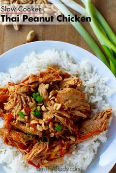 "You are in for a treat. I was eating this Slow Cooker Thai Peanut Chicken with my husband Mark (he actually made it), and I kept saying ""this… this is good."" It's like it was getting better and better as I ate it. I've had recipes like this in the past that are too heavy on the peanut butter, or"