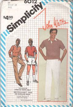 Simplicity 6012 1980s John Weitz Mens Designer Shorts Pants and Sport Shirt vintage sewing pattern by mbchills,
