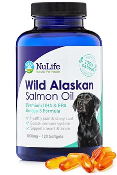 Premium Wild Alaskan Salmon Oil for Dogs - Omega 3 Fish Oil For Dogs - For Healthy Skin and Shiny Coat - Prevents Itchy Skin, Skin Allergies and Shedding - No Fishy Smells - 120 Capsules *** You can get more details here : Cat Health and Supplies