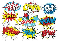 Superhero Action Party Photo Booth Props or por TheQuirkyQuail