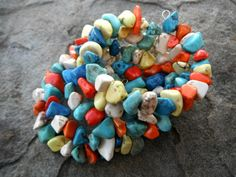Stone Memory Wire Bead Wrap Bracelet - chunky jewelry, tribal jewelry, dyed howlite, multicolor, handmade by CaravanOfBeads, $38.00 - This gorgeous gemstone memory wire bead bracelet is made from exotic dyed howlite stones. Perfect for those who love chunky statement wrap jewelry with a colorful twist. - https://www.etsy.com/listing/126226702/stone-memory-wire-bead-wrap-bracelet?ref=shop_home_feat