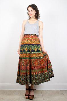 Vintage Hippie Skirt India Skirt Boho by ShopTwitchVintage on Etsy