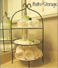 Go vertical with your bathroom storage using a tiered plate stand. Via The Pin Junkie Bathroom Storage guest bath idea  sc 1 st  Pinterest : stacked plate rack - pezcame.com