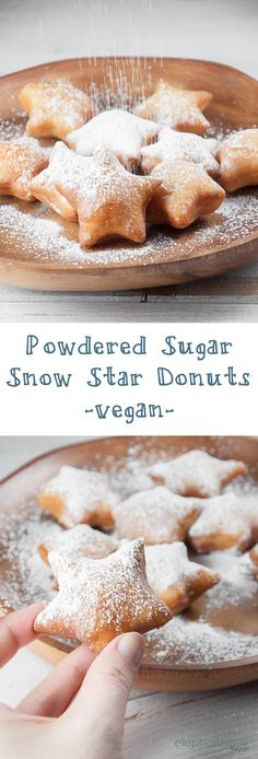 These vegan Snow Star Donuts dusted with powdered sugar are the perfect treat for the holidays! Fluffy inside, crisp outside. Vegan Dessert Recipes, Donut Recipes, Delicious Vegan Recipes, Dairy Free Recipes, Oatmeal Recipes, Lime Recipes Vegan, Vegan Baking Recipes, Vegan Recipes Beginner, Cake Recipes