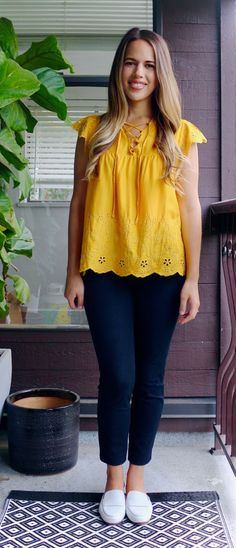 49200e2835 Jules in Flats - Yellow Eyelet Top Office Attire