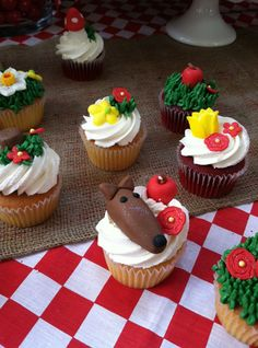 Little Red Riding Hood woodland creature first birthday party story character cupcakes