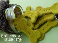 Gluten-Free Pumpkin Dog Biscuits. Perfect for Odin, who is allergic to wheat. Pumpkin is also said to be good for upset tummies!