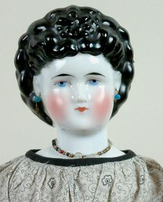 "*EXTREMELY RARE*20"" Antique Portrait China Doll Superb Bun & Braid Crown!"