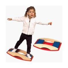 """Guidecraft Balance Base ~ would be easy to make with two semi circle/oval sides and a flat standing platform attached about 1/2"""" below the straight edge top. Customize size for child, add a ledge for feet and paint the whole thing!"""