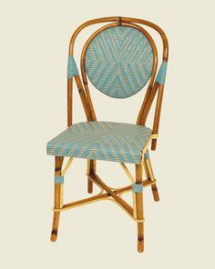 Chaise de bistrot en rotin tissé