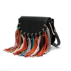 Rainbow Tassel Fringe Saddle Bag 2016 Famous Leather Women's Handbags Designers Luxury Shoulder Messenger Bags Fashion Women Bag