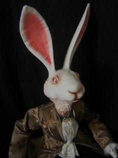 WHITE Rabbit Alice in Wonderland Doll Sculpture  24  by wildrobyn, $320.00