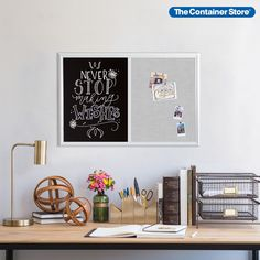 With the Farmhouse Collection of modular message boards, you can create a stylish, personalized communications center for your home, office, kitchen, dorm, or craft room. This special two-in-one design includes a traditional chalk board surface and a linen-covered bulletin board, all in a pretty wooden frame. Use it as a catchall for reminders, to-do lists and menus ideas, or as an inspiration board for motivational images and messages. Craft Room, Organization, Container Store, Inspiration, Boards, Dorm Organization, Inspiration Boards, Home Decor, Chalk