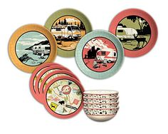 Here are my latest vintage camper decor finds! Camp Casual 12 Piece Dish Set Vintage Camper Throw Pillow Case Trailer Park Collection Moose Wind Chime Camp Casual Mug Great Outdoors Towel Set of 4 Camp Casual Throw Camper Trailer Salt and Pepper Shakers Rv Dishes, Camping Dishes, Kitchen Dishes, Dish Organization, Melamine Dinnerware Sets, Vintage Dinnerware, Retro Camping, Retro Images, Plates And Bowls